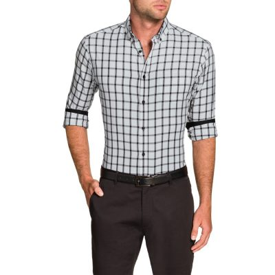 Fashion 4 Men - Tarocash Zane Slim Check Shirt White S