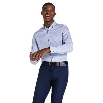 Fashion 4 Men - yd. Clovelly Dress Shirt Blue S