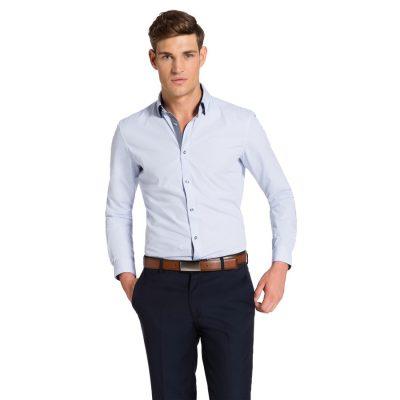 Fashion 4 Men - yd. Euro Floral Trim Slim Fit Shirt Sky 2 Xs