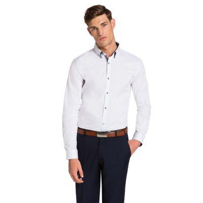 Fashion 4 Men - yd. Euro Floral Trim Slim Fit Shirt White L
