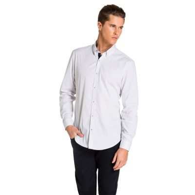 Fashion 4 Men - yd. Seymour Shirt White/ Navy 2 Xs