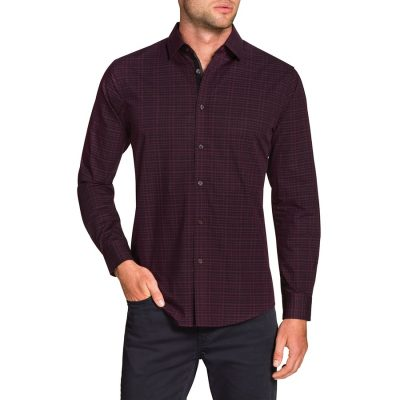 Fashion 4 Men - Tarocash Apollo Check Shirt Berry L