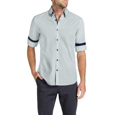 Fashion 4 Men - Tarocash Arran Print Shirt Navy Xxl