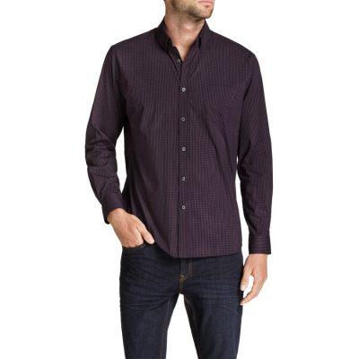 Fashion 4 Men - Tarocash Blake Stretch Check Shirt Aubergine Xxxl
