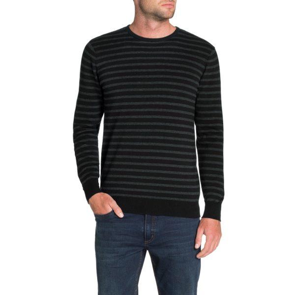 Fashion 4 Men - Tarocash Braydon Stripe Knit Charcoal S