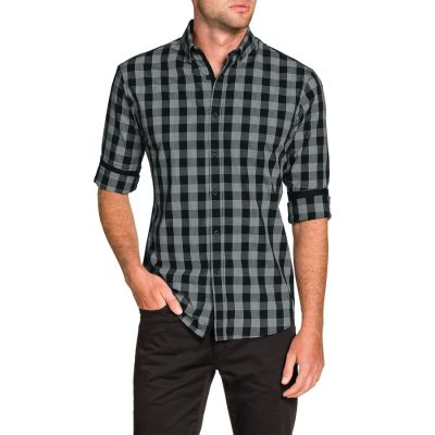 Fashion 4 Men - Tarocash Covey Slim Check Shirt Black L