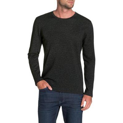 Fashion 4 Men - Tarocash Dominic Crew Stripe Tee Charcoal Xxxl