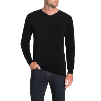 Fashion 4 Men - Tarocash Essential V Neck Knit Black 4 Xl
