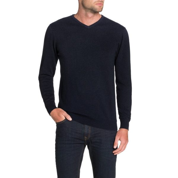 Fashion 4 Men - Tarocash Essential V Neck Knit Navy Xl