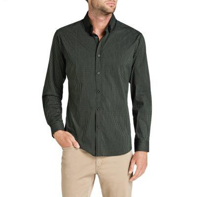 Fashion 4 Men - Tarocash Fallon Slim Check Shirt Khaki Xl