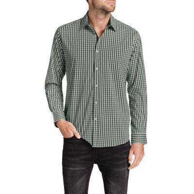 Fashion 4 Men - Tarocash Gingham Check Stretch Shirt Khaki L