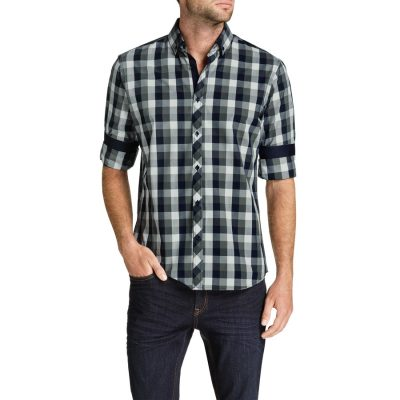 Fashion 4 Men - Tarocash Hassel Check Shirt Charcoal S