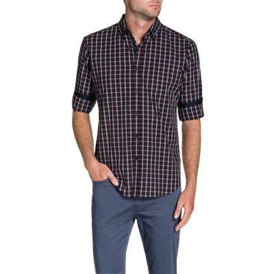 Fashion 4 Men - Tarocash Kelvin Check Shirt Burgundy Xl