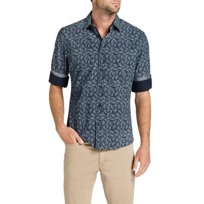 Fashion 4 Men - Tarocash Kirby Paisley Print Shirt Navy 5 Xl