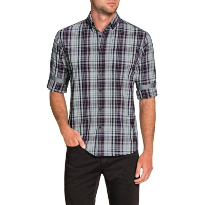 Fashion 4 Men - Tarocash Prince Slim Check Shirt Purple L