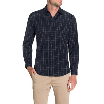 Fashion 4 Men - Tarocash Rigg Slim Check Shirt Navy L