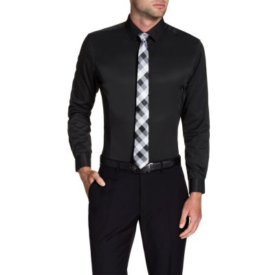 Fashion 4 Men - Tarocash Webster Slim Dress Shirt Black Xxl