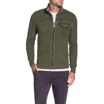 Fashion 4 Men - Tarocash Zip Thru Combat Knit Khaki Xxl