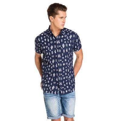 Fashion 4 Men - yd. Desert Print Ss Shirt Blue M