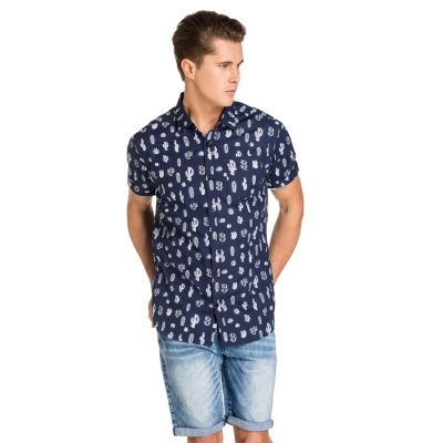 Fashion 4 Men - yd. Desert Print Ss Shirt Blue Xs