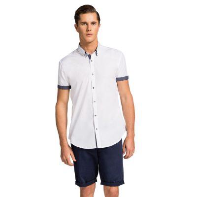 Fashion 4 Men - yd. Euro Floral Trim Slim Fit Ss Shirt White 3 Xs