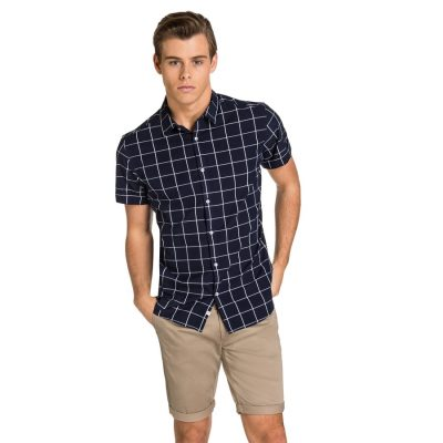 Fashion 4 Men - yd. Forshaw S/S Shirt Navy Check Xxl
