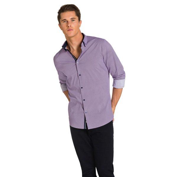 Fashion 4 Men - yd. Leeman Slim Fit Shirt Purple M