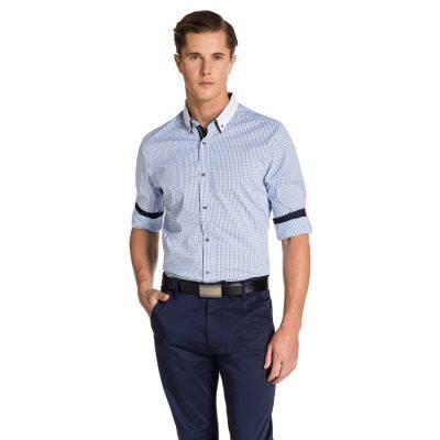 Fashion 4 Men - yd. Lyle Slim Fit Shirt Blue/ White L