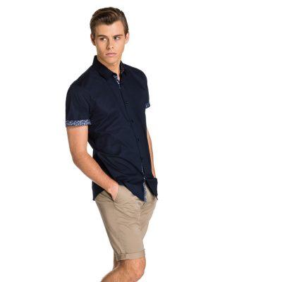 Fashion 4 Men - yd. Midnight Slim Fit S/S Shirt Dark Blue Xs