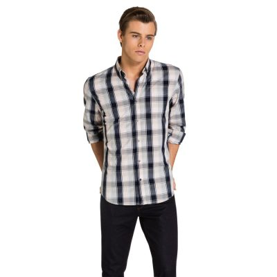 Fashion 4 Men - yd. Otero Slim Fit Shirt Natural/Navy 2 Xs