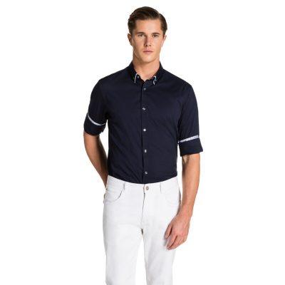 Fashion 4 Men - yd. Paisley Trim Slim Fit Dress Shirt Navy 3 Xs
