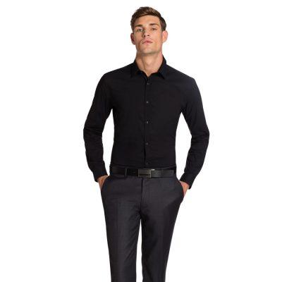 Fashion 4 Men - yd. Plain Stretch Slim Fit Shirt Black S