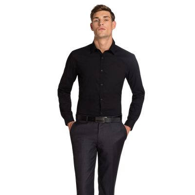 Fashion 4 Men - yd. Plain Stretch Slim Fit Shirt Black Xs