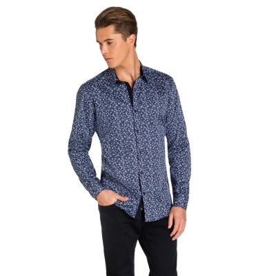Fashion 4 Men - yd. Tristan Slim Fit Shirt Blue/ Navy Xxxl