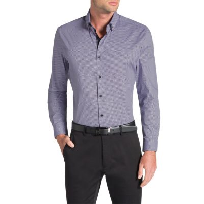 Fashion 4 Men - Tarocash Alex Diamond Slim Print Shirt Lilac S