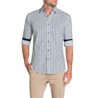 Fashion 4 Men - Tarocash Controller Check Print Shirt Navy L