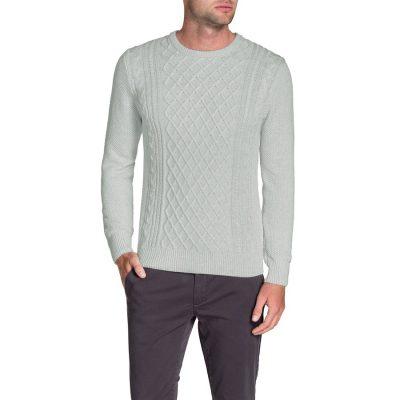 Fashion 4 Men - Tarocash Crew Neck Cable Knit Ice L