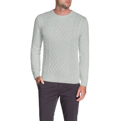 Fashion 4 Men - Tarocash Crew Neck Cable Knit Ice M