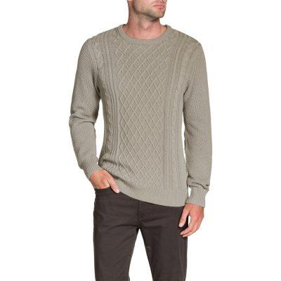 Fashion 4 Men - Tarocash Crew Neck Cable Knit Mocha M