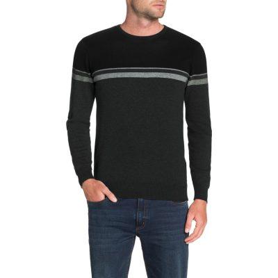 Fashion 4 Men - Tarocash Jacob Stripe Knit Charcoal S