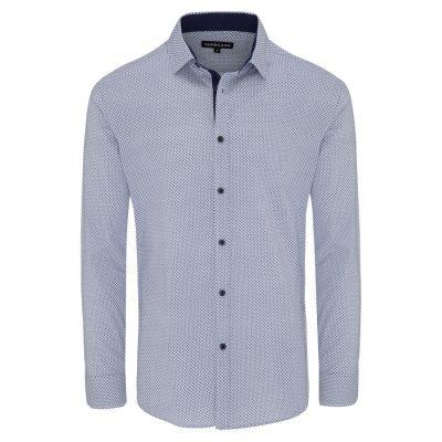 Fashion 4 Men - Tarocash Joey Stretch Print Shirt Blue M