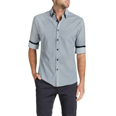 Fashion 4 Men - Tarocash King Spot Slim Print Shirt Navy S
