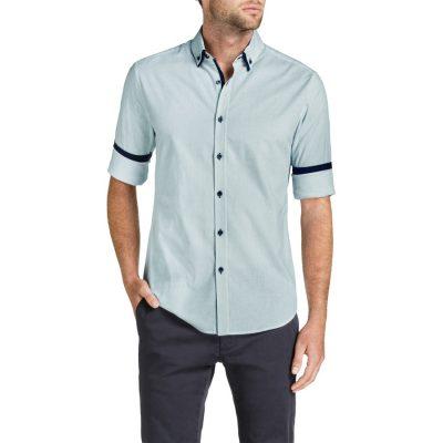 Fashion 4 Men - Tarocash King Spot Slim Print Shirt Sky M