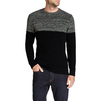 Fashion 4 Men - Tarocash Kirk 2 Tone Knit Black Xxxl