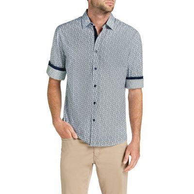 Fashion 4 Men - Tarocash Mini Paisley Print Shirt Navy L
