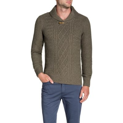 Fashion 4 Men - Tarocash Shawl Neck Cable Knit Mocha M