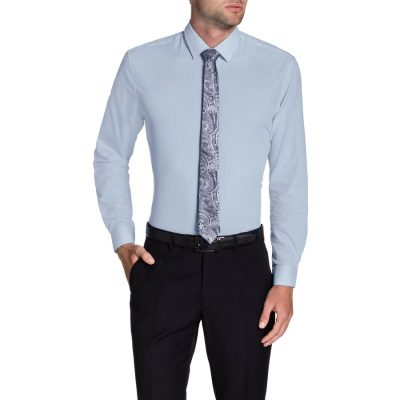 Fashion 4 Men - Tarocash Skyfall Slim Textured Shirt Sky Xxl