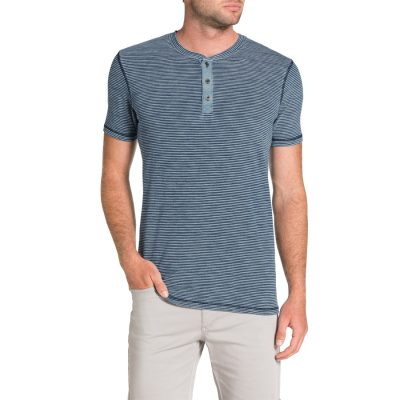 Fashion 4 Men - Tarocash Stripe Henley Tee Indigo L