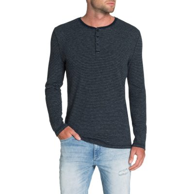 Fashion 4 Men - Tarocash Vin Stripe Henley Tee Denim 4 Xl