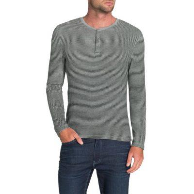 Fashion 4 Men - Tarocash Vin Stripe Henley Tee Grey Marle S